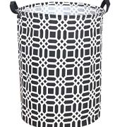 "Sanjiaofen 19.7"" Large Laundry Hamper Bucket Waterproof Coating Storage Bin Collapsible Washing Basket Home Nursery Toy Organizer,Canvas Storage Basket with Stylish Design(Black)"