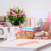 loofeng Desk Organizer, Rose Gold Metal Office Desk Organizers and Accessories
