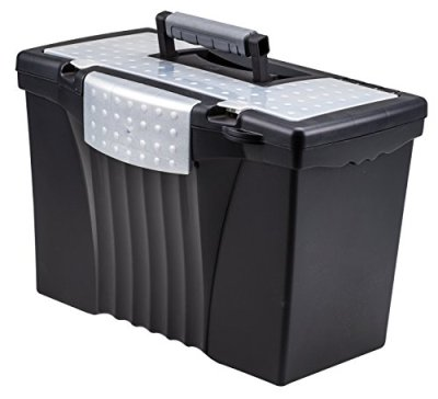 Storex Portable File Box with Organizer Lid, 17.13 x 9.63 x 11 Inches