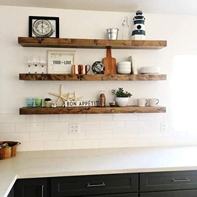 New England Wood Crafters Wooden Floating Shelves - Wall Decor
