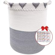 TerriTrophy XXXL Large Laundry Basket Cotton Rope Basket 22in x 16in x 16in Woven Laundry Hamper Blanket Storage Baskets for Towel, Toys, Diaper, Hamper
