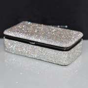 Diamond Square Jewelry Box Travel Portable Mirror Makeup