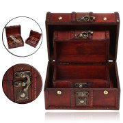 2Pcs Retro Wooden Jewelry Storage Box Small