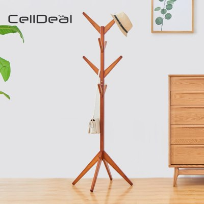Wooden Coat Rack Clothes Stand Hanger Hat Jacket Bag
