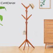 Solid Wood Floor Coat Rack Free Standing Wood Tree Coat