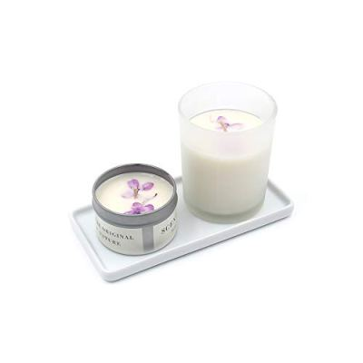 Floatant Small Ceramic Candle Tray Rectangle White Sink Tray Perfume