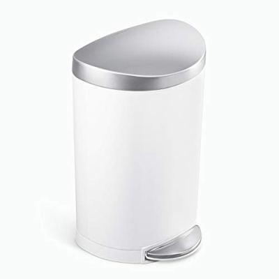 simplehuman 6 Liter / 1.6 Gallon Semi-Round Bathroom Step Trash Can