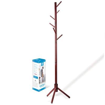 High-Grade Wooden Tree Coat Rack Stand, 6 Hooks
