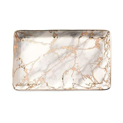 Golden Striped Marble Plate - Ceramic Jewelry Tray, Ring Holder
