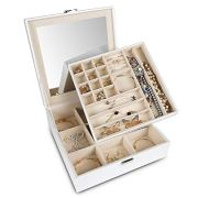 Jewelry Box Organizer Storage Display with Lock and Built-In Mirror