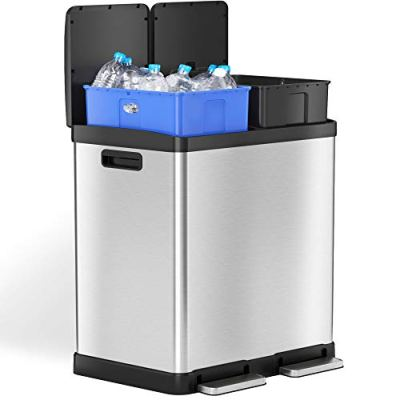 iTouchless SoftStep 16 Gallon Dual Compartment Trash Can Recycler