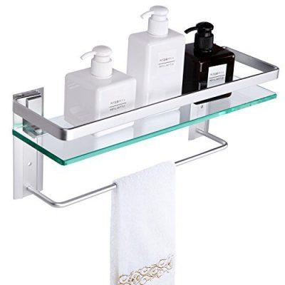 Wall Mounted Tempered Glass Bathroom Shelf