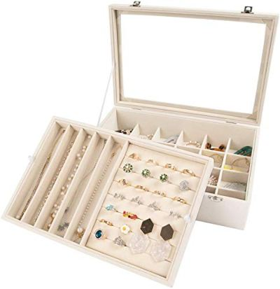 Mebbay Velvet Jewelry Organizer Box with Clear Lid