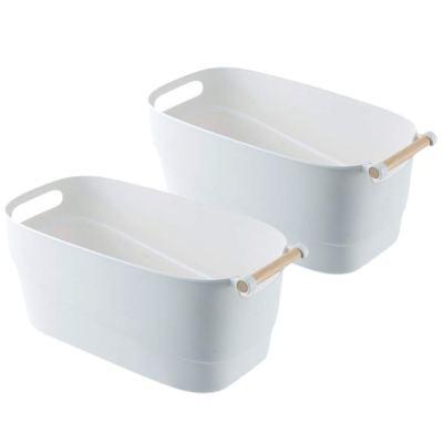 Storage Bins with Wood Handle, Set of 2 - Minimal