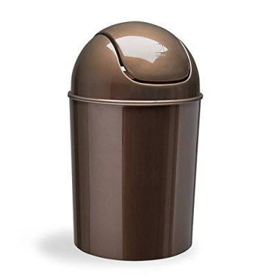 Mini Waste Can Gallon with Swing Lid, Bronze
