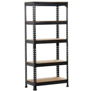 Yaheetech Black Adjustable 5-Shelf Shelving Unit Storage