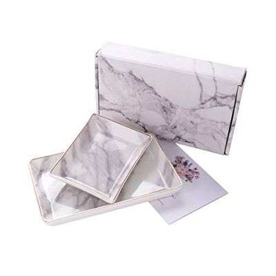 Trinket Dish Tray Decor White Marble Ceramic