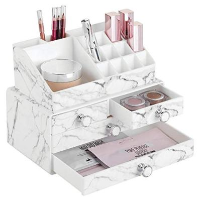 mDesign Decorative Plastic Makeup Organizers for Bathroom