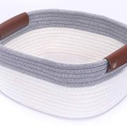 Rectangle Cotton Rope Basket with Handles for Books, Magazines, Toys