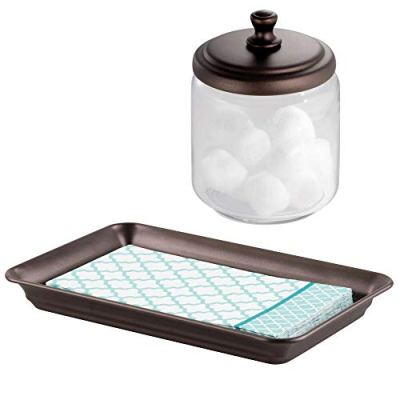 Organizer Canister Jar Set for Cotton Swabs, Cotton Rounds