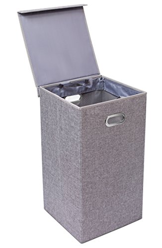 Single Laundry Hamper with Lid and Removable Liner