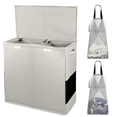 Double Laundry Hamper with Lid and Removable Laundry Bags