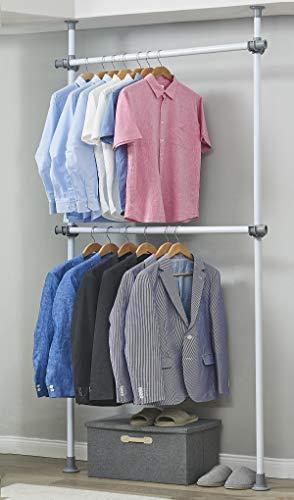 Adjustable Closet Rod Double Rail Garment Rack Organizer System