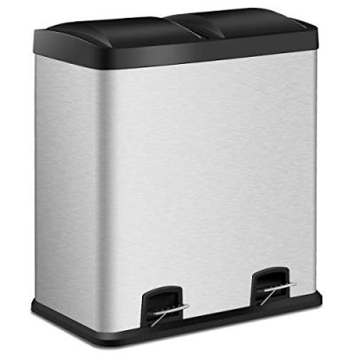 Costzon Double Compartment Classified Step Trash Can