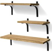 Rustic Wood Wall Storage Shelves for Home Decor Bedroom