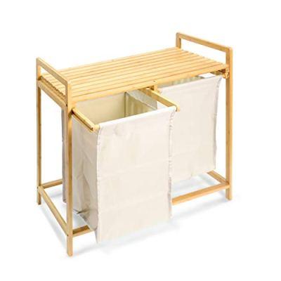 Laundry Hamper and Shelf 2 Sections Laundry Basket