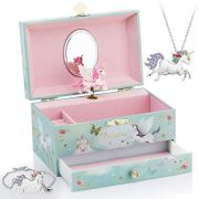 Kids Musical Jewelry Box for Girls with Big Drawer