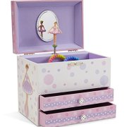 Jewelkeeper White and Purple Ballerina Musical Jewelry Box