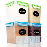 4 Large Airtight Food Storage Containers for Flour