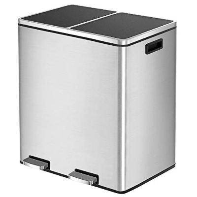 HEMBOR Dual Trash Can, 16 Gallon Step Rubbish Bin