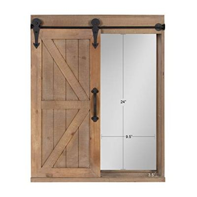 Storage Cabinet with Vanity Mirror and Sliding Barn Door