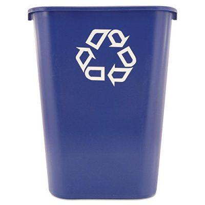 Blue Plastic Resin Deskside Recycling Can, 10 Gallon