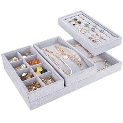 Mebbay Drawer Organizer 4 in One Stackable Jewelry Trays