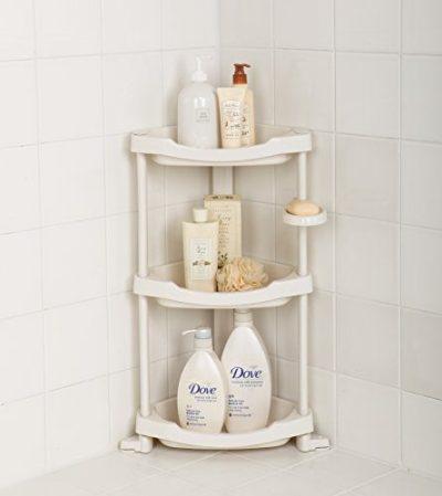 Tenby Living Corner Shower Caddy - 3 Shelf Shower Organizer Caddie