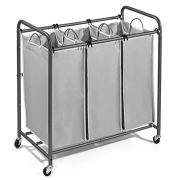 JustRoomy Mobile 3-Bag Heavy-Duty Laundry Hamper
