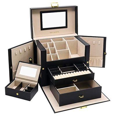 01 Jewelry Box, 3 Layers Jewelry Organizer with Mirror