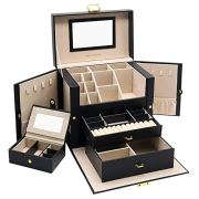 01 Jewelry Box, 3 Layers Jewelry Organizer with Mirror