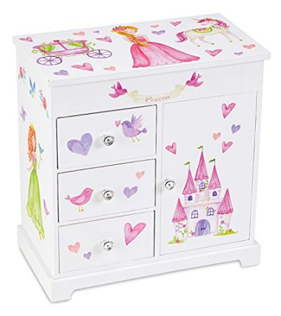 Musical Jewelry Box with 3 Pullout Drawers