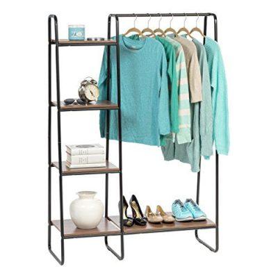IRIS USA Metal Garment Rack with Wood Shelves