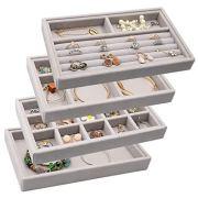 Velvet Jewelry Drawer Inserts Trays, Earring Organizer