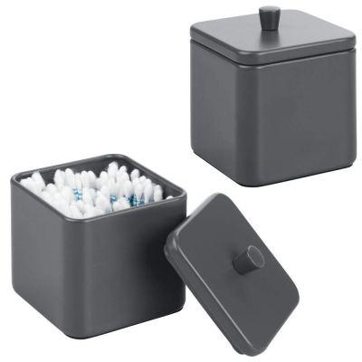 mDesign Metal Bathroom Vanity Countertop Storage Organizer Canister