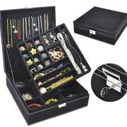 Jewelry Box for Women, QBeel 2 Layer, 36 Compartments