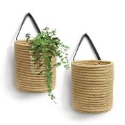 "Goodpick 2pack Jute Hanging Basket - 7.87"" x 7"" Small Woven Fern"