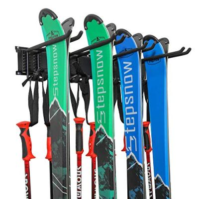 Ski Wall Rack for Home and Garage Storage, Wall Mounted