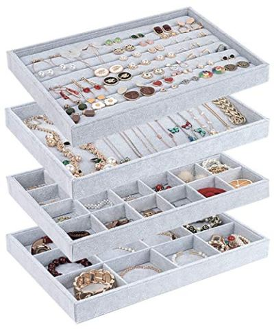 UIUIX Stackable Velvet Jewelry Trays Organizer for Drawer