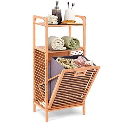 Giantex Laundry Hamper Bamboo Freestanding W/Shelf